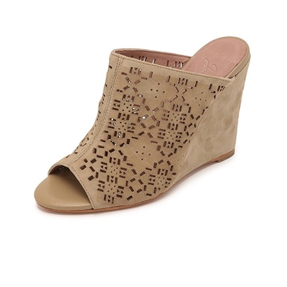 dc27f31acffe4 Joie Shoes - Joie Anita Laser Cut Cement Suede Wedge Mules 39